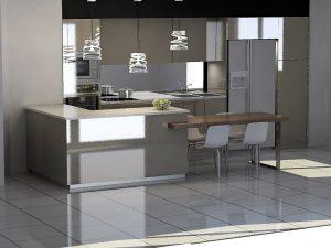 On garde les meubles laqués brillants avec des dimensions de 80 au lieu de 90cm