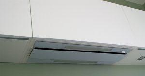 Détail de la hotte NOVY 878 en verre blanc