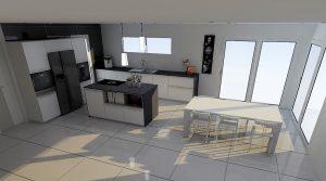 En plaçant la table de salon dans le prolongement de l'îlot, celui sera 'minimaliste'.