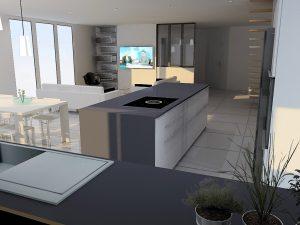 Vue côté salon avec mur d'étagères identique à celle qui se trouve sous l'îlot et TV visible en étant devant la plaque de cuisson.