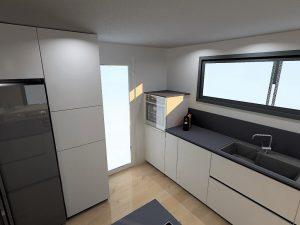Détail de la colonne micro-ondes qui comportera une porte de 960mm avec possibilité de mettre des paniers intérieurs, une façade escamotable vers le haut de 48cm pour l'accès au micro-ondes et une porte haute de 840mm