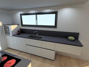 Détail du linéaire évier, avec un meuble de 30cm épices/bouteilles, le lave-vaisselle, le meuble sous évier de 90cm, un casserolier de 60cm et le meuble suspendu de 90cm