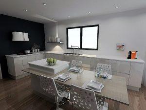 Choix 2 : 2 meubles de 30cm identiques à chaque extrémité de la composition basse