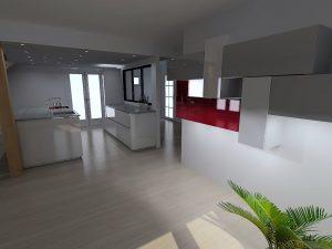 Composition possible de meubles faisant la continuité  entre cuisine et salon