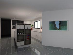 Séparation très nette entre cuisine et salon sans fermer 'hermétiquement' l'ensemble.