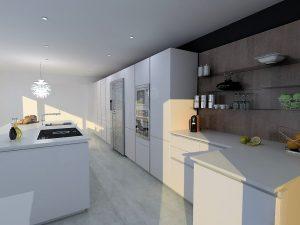 Mur d'étagères en verre Placer System permettant d'agencer la largeur des étagère et leur emplacement sur la composition.