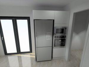 Cotation du frigo Samsung avec contrainte de ventilation de 30mm de par et d'autre