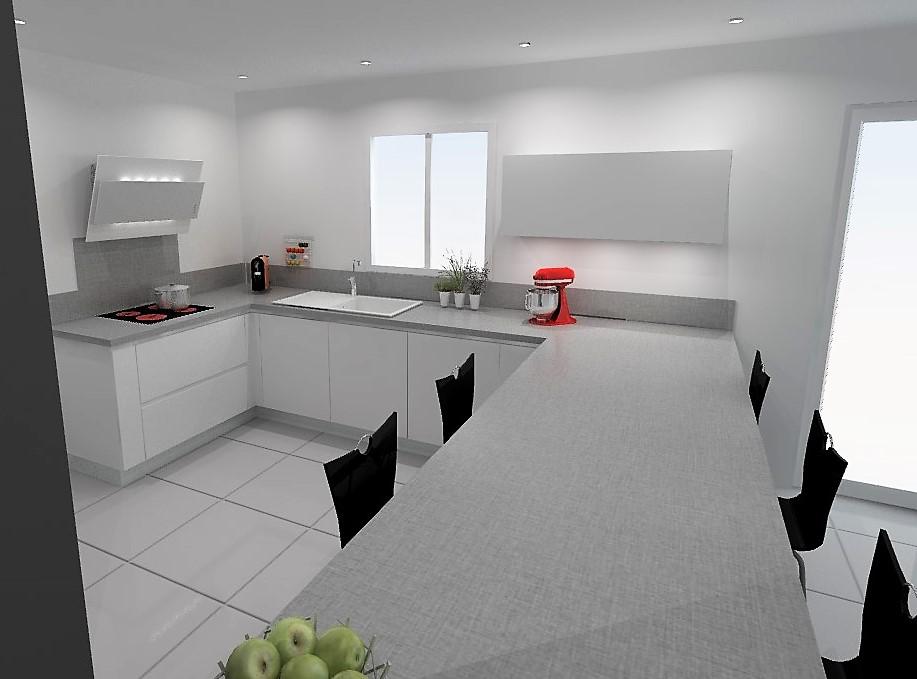 etude cuisine armony vif en forme de u et mur de colonnes. Black Bedroom Furniture Sets. Home Design Ideas