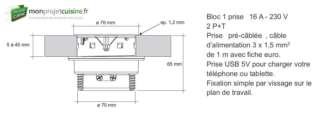 prise pour plan de travail bloc prise cuisine pour plan de travail 2 prises oskab prise plan. Black Bedroom Furniture Sets. Home Design Ideas