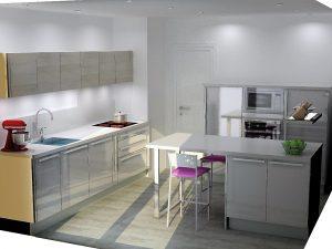 L'espace entre l'évier et la plaque de cuisson reste très correct puisque l'on à environ 1.20m