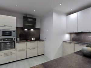 Symétrie des meubles en largeur de part et d'autre de la plaque de cuisson