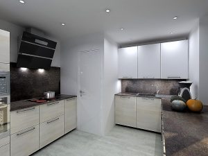 Coloris de la cuisine Cipria - Modèle RHO avec façades blanc mat sur les meubles hauts de 96cm