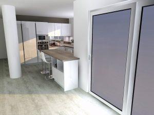 Retour d'un meuble ouvert sur la partie salon pour créer la liaison cuisine/salon