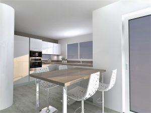 Les meubles séparatifs derrière la table sont 9cm plus haut que les autres meubles bas, il est possible d'avoir des meubles qui font 12cm de plus