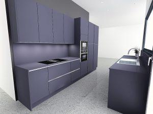 Plaque de cuisson côté colonnes afin de pouvoir placer une hotte dans les meubles hauts