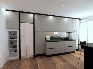 Hauteur des meubles hauts 92cm .... cela permet d'avoir une accessibilité plus aisée car les meubles se trouvent à 55cm du plan de travail