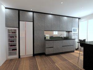 Essai avec la texture 'urban' et la symétrie des meubles hauts