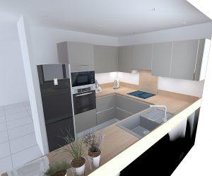 Meuble haut intégrant la hotte moins grand - Sans meuble au dessus du frigo