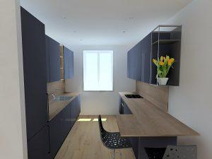 Le meuble haut en alumuminium SIZE apporte la touche finale entre le salon et la cuisine