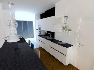 Le meuble de faible profondeur (largeur 90cm) permet de prolonger le linéaire de la cuisine et meuble ainsi la pièce.