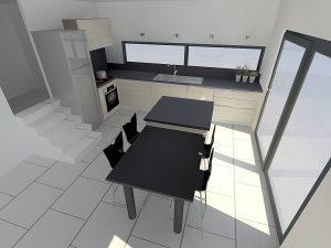 Plans de travail noir pour atténuer le blanc de votre pièce qui est très lumineuse.