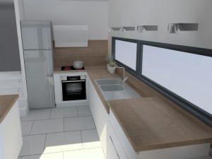 La hotte au dessus de la plaque limite fortement la place pour ajouter une étagère, il n'est pas possible de placer le M.O dans l'angle, en hauteur, celui-ci serait inaccessible.