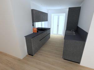 Il est possible de passer les meubles hauts côté colonne et de ne garder qu'une hotte inclinée au dessus de la plaque afin d'aérer l'espace.