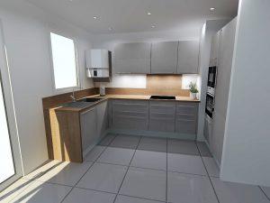 Dans cette configuration la cuisine est aéré mais il faudra prévoir un coin repas dans le salon