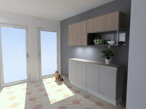 Meubles de faibles profondeurs réservés pour le stockage alimentaire des chats. un meuble ouvert en fer permet d'apporter le côté déstructuré à la composition