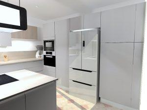 Grande colonne à droite du frigo permettant de cacher le lave-linge et le petit congélateur.