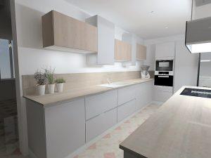 Les meubles hauts crées la dynamique dans la composition et casse le côté linéaire de la pièce